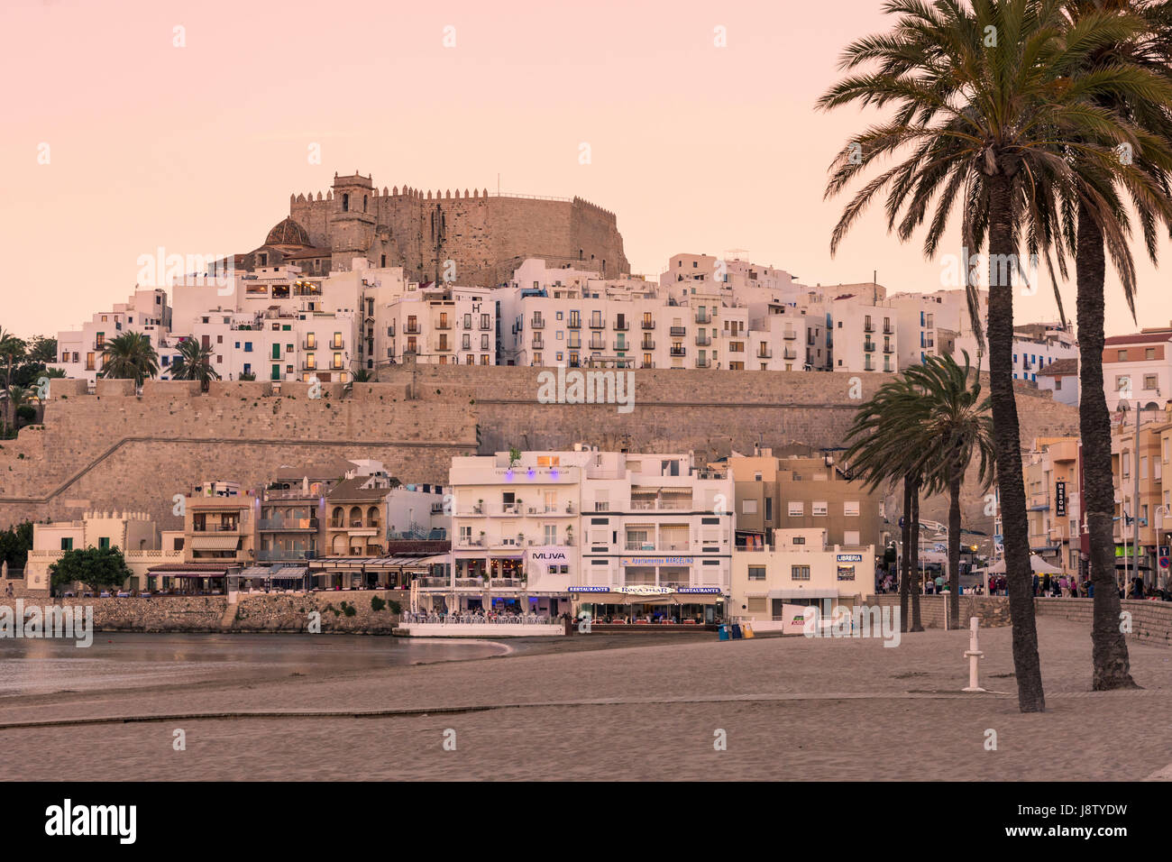 Papa Luna's Castle and old town at sunset, Peniscola, Castellon, Spain - Stock Image