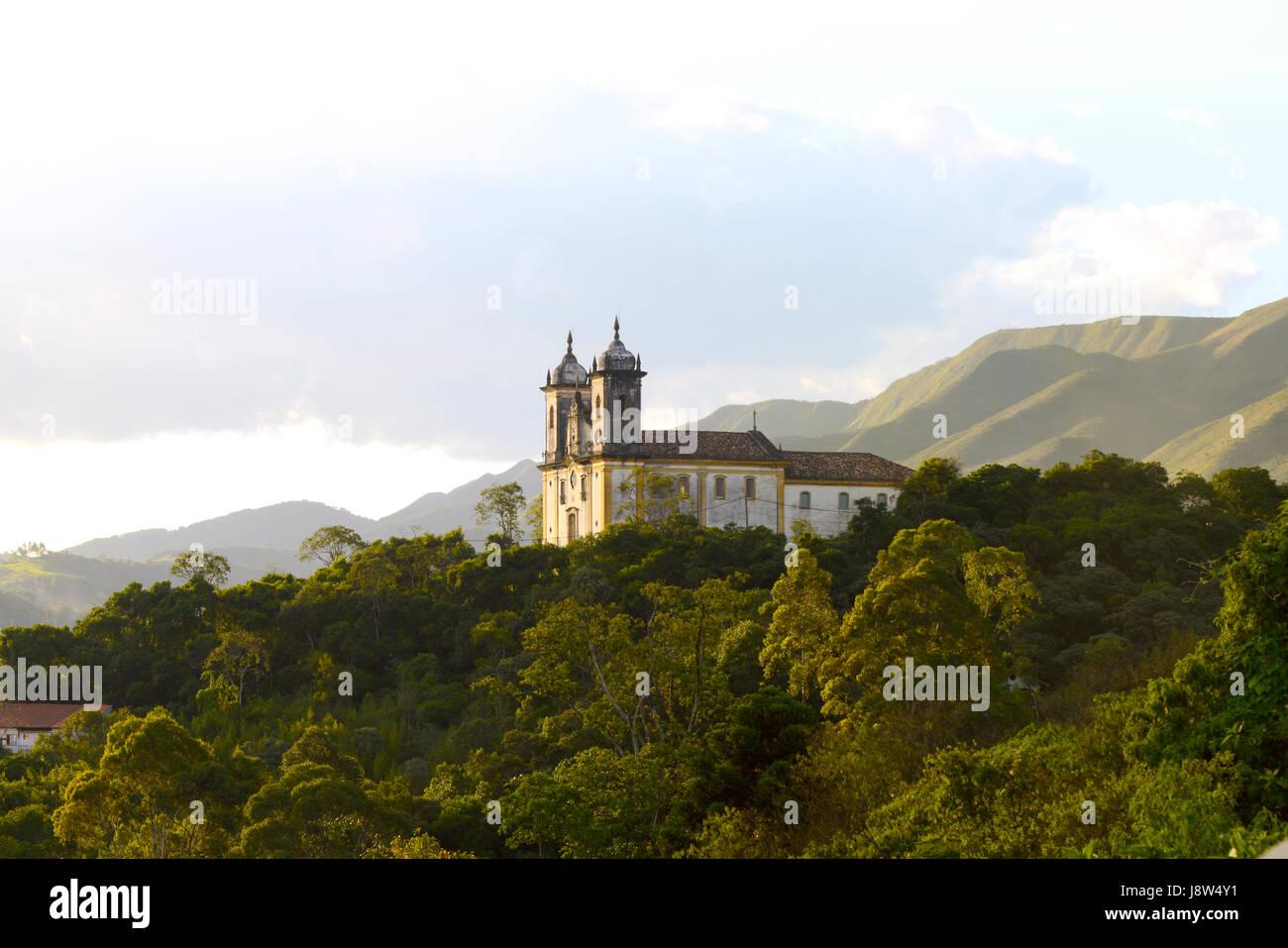 View of the unesco world heritage city of Ouro Preto in Minas Gerais, Brazil - Stock Image