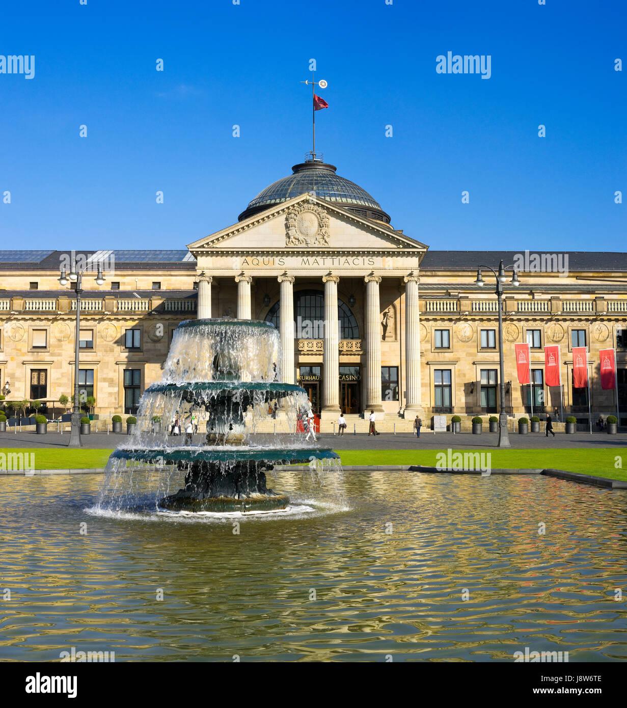 kurhaus, shine, shines, bright, lucent, light, serene, luminous, park, dome, - Stock Image