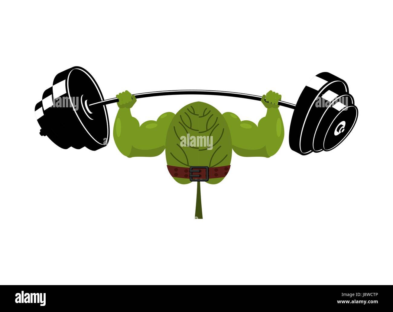 Strong spinach and barbell. Healthy useful plant athlete. Food for athletes Stock Vector