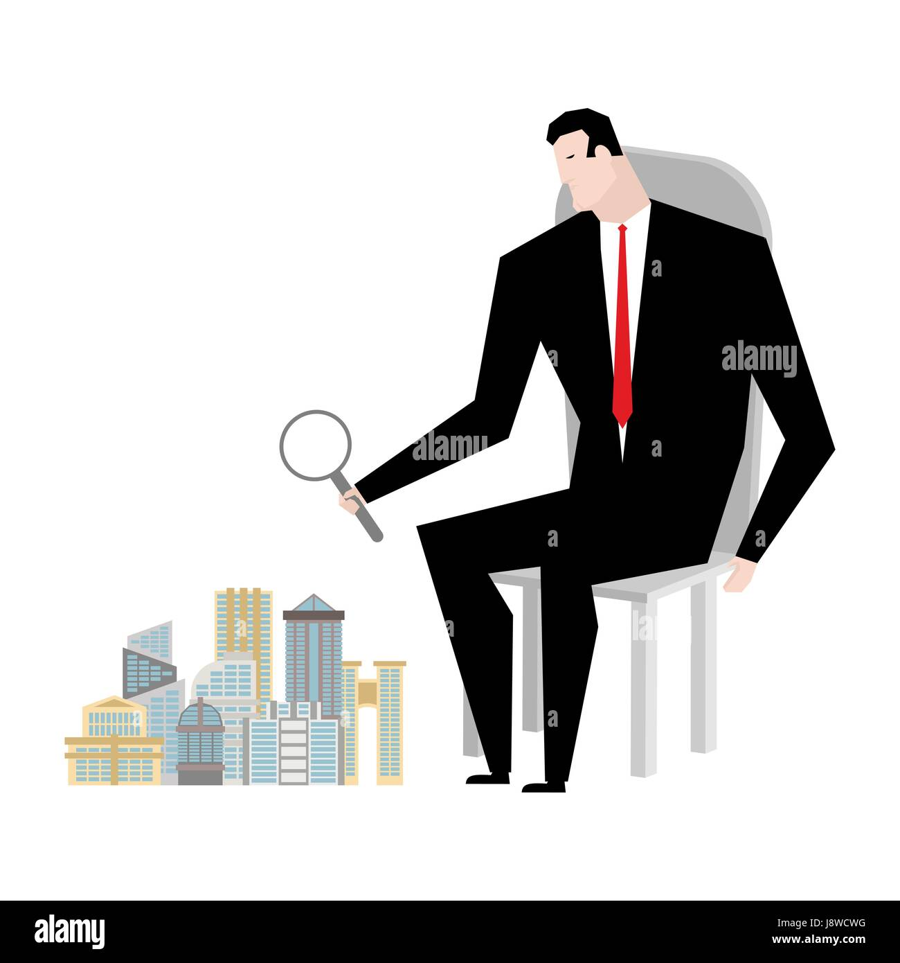 Mayor sees city through magnifying glass. head of town looks at buildings - Stock Vector