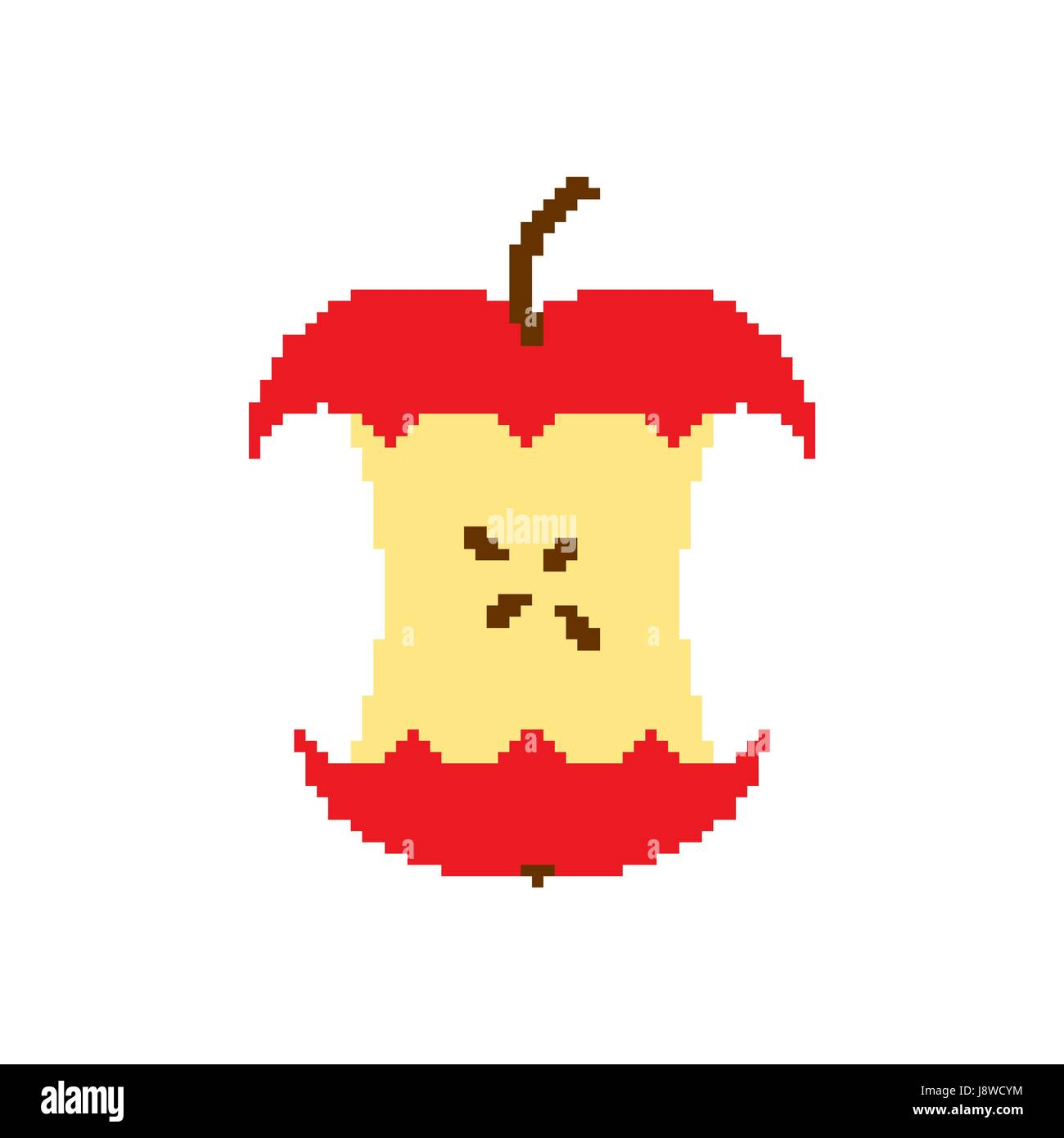 Apple core pixel art isolated on white background - Stock Vector