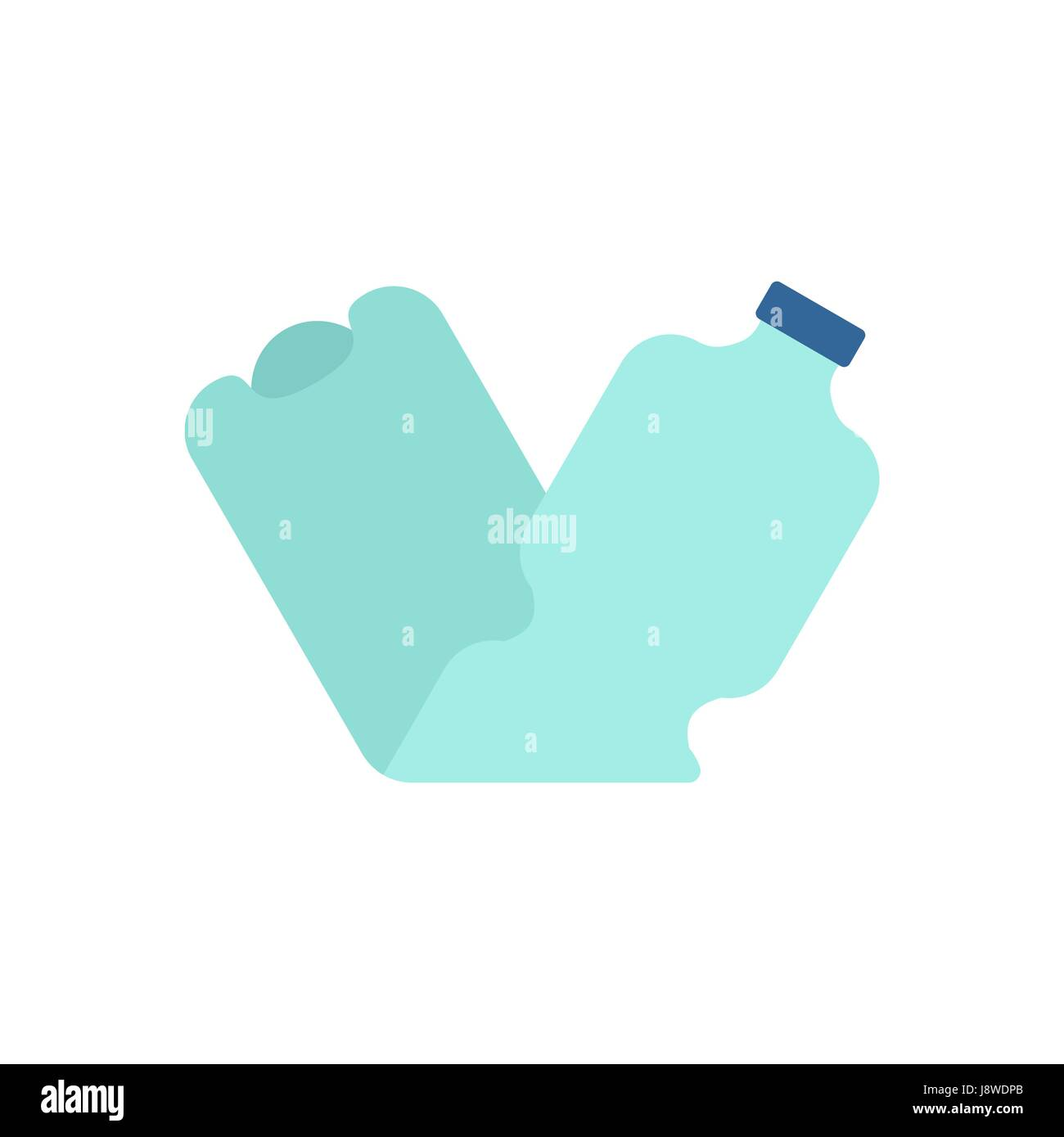 Plastic bottle crushed garbage isolated. rubbish on white background - Stock Vector