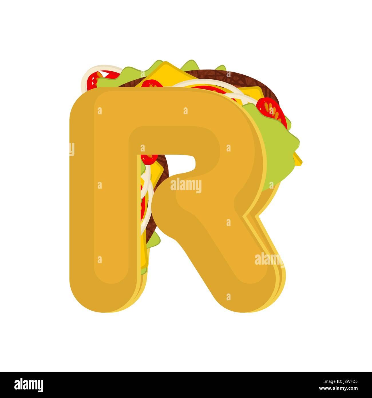 Letter R Tacos Mexican Fast Food Font Taco Alphabet Symbol Mexico