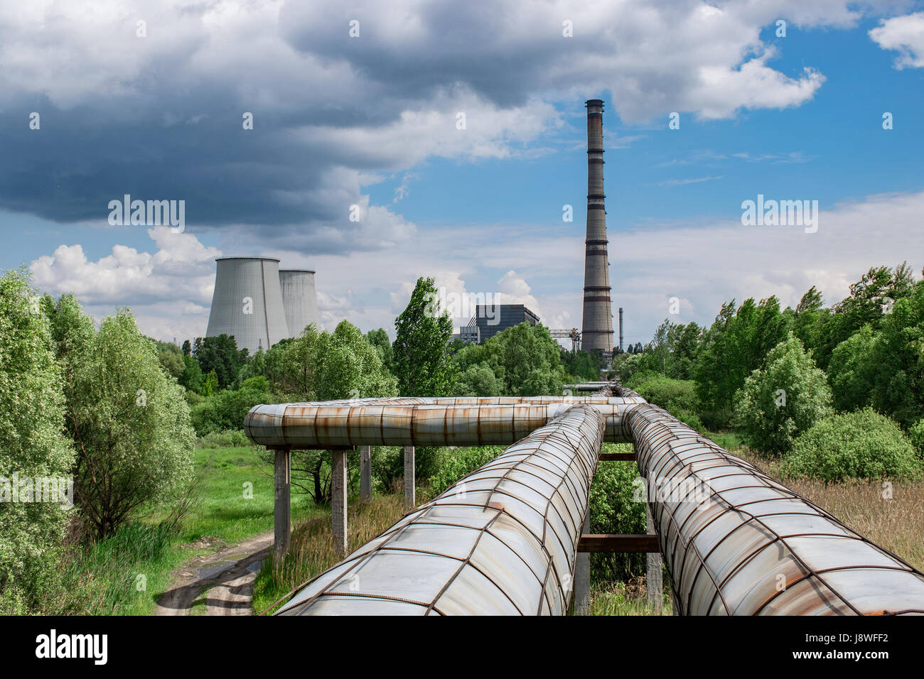 Hot water and central heating pipelines with a cogeneration plant ...