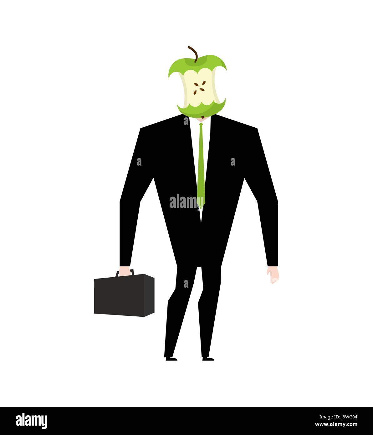 Businessman apple core. Dumb boss. Silly manager garbage - Stock Vector