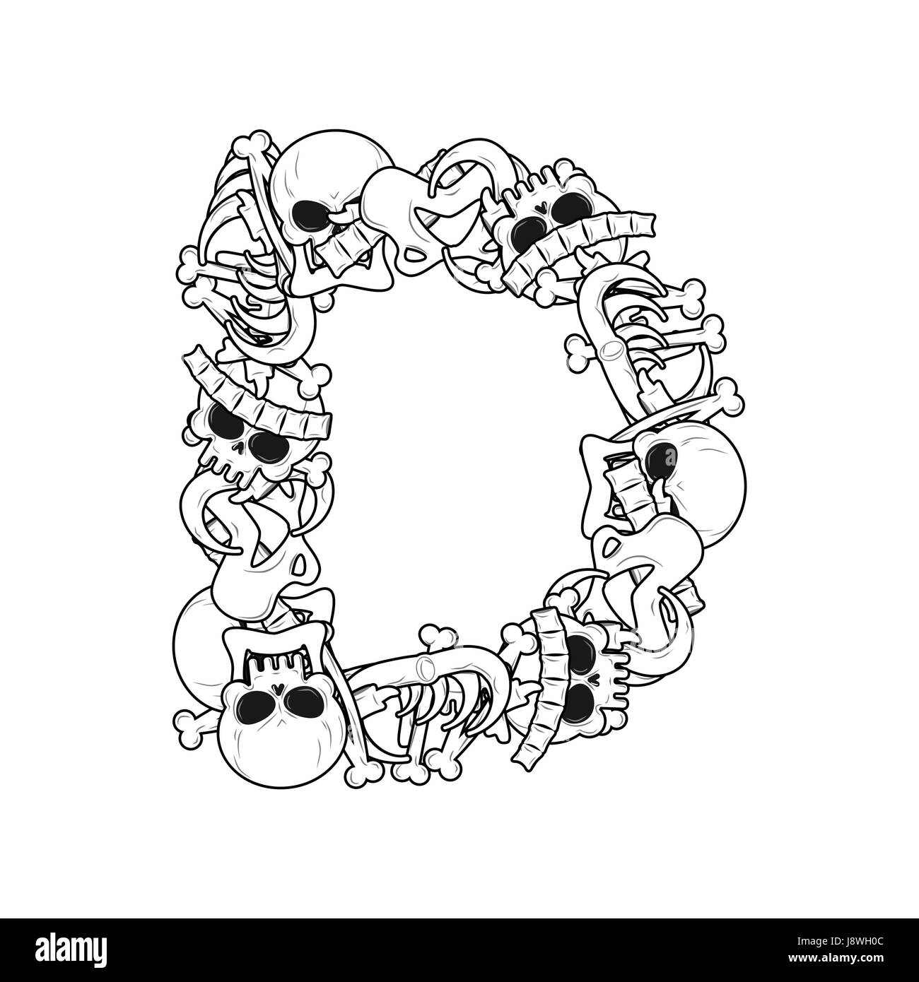 Letter D skeleton Bones Font. Anatomy of an alphabet symbol. dead ...