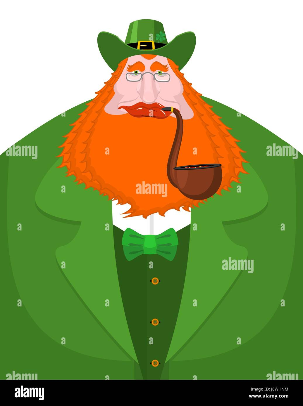 a7e467d5970 St. Patrick s Day Leprechaun with red beard and pipe. Green hat. Magic Dwarf  in Ireland. national holiday March 17 . Traditional Irish Festival
