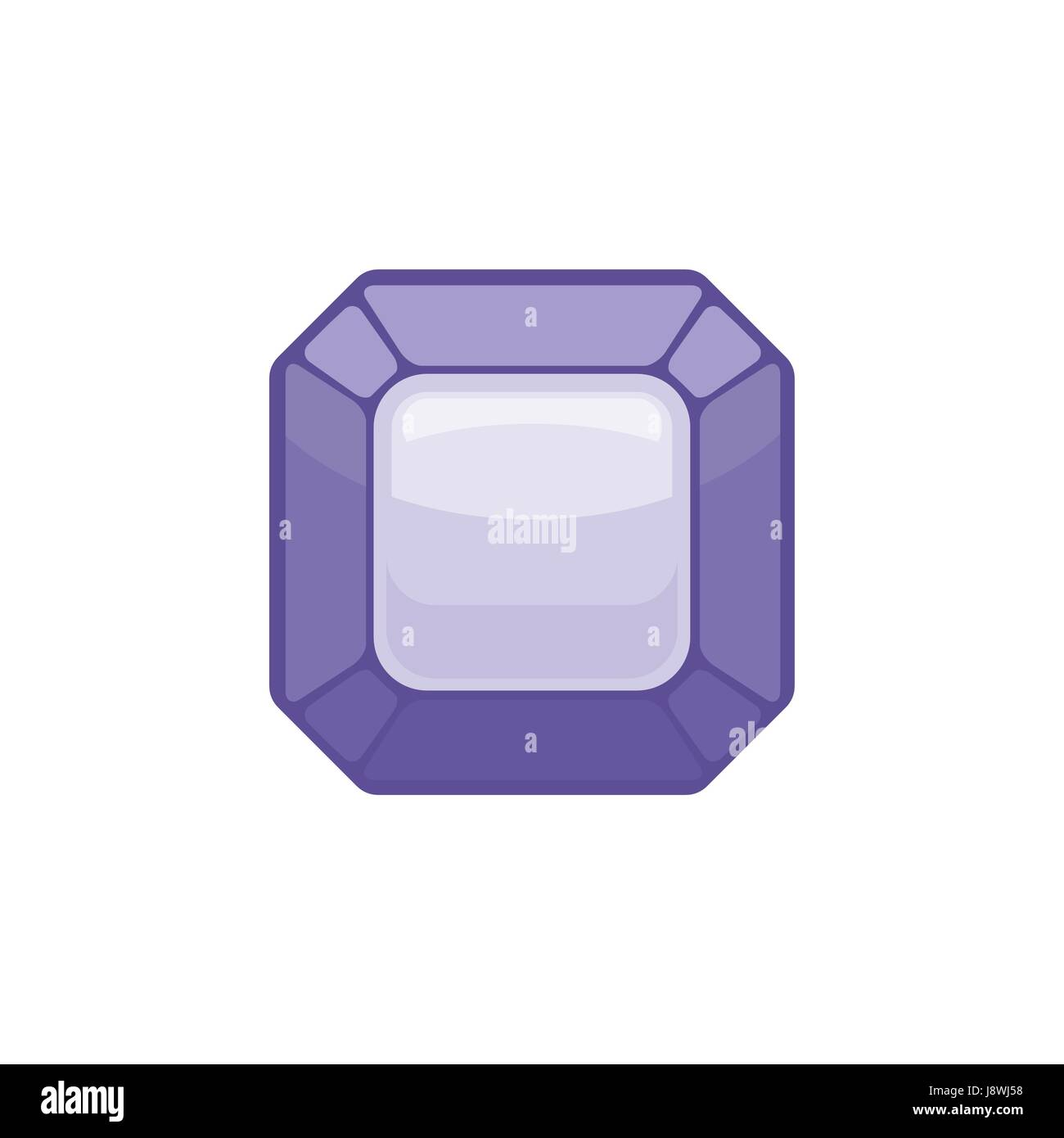 Amethyst gemstone isolated. Jewelry Purple stone on white background Stock Vector