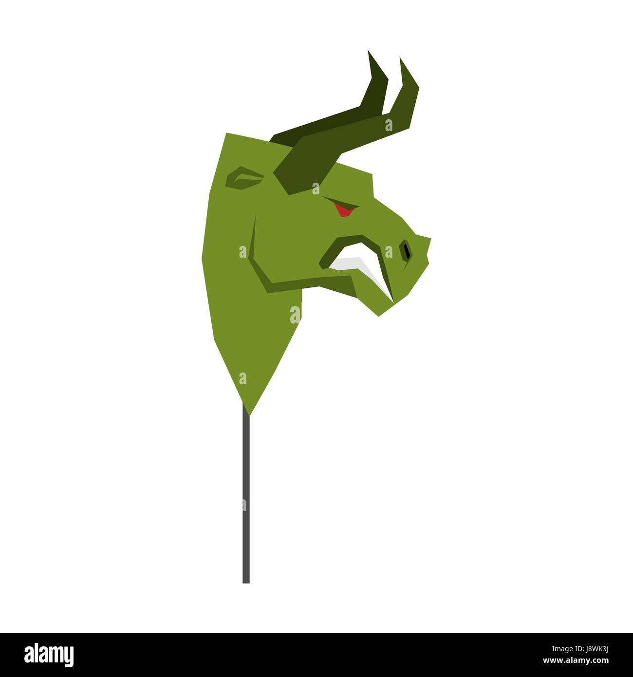 Green Bull Trader mask. guise Player on stock exchange - Stock Vector