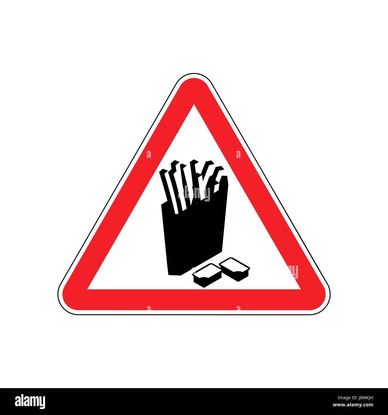 Attention French fries. Dangers of red road sign. Fast food Caution - Stock Vector