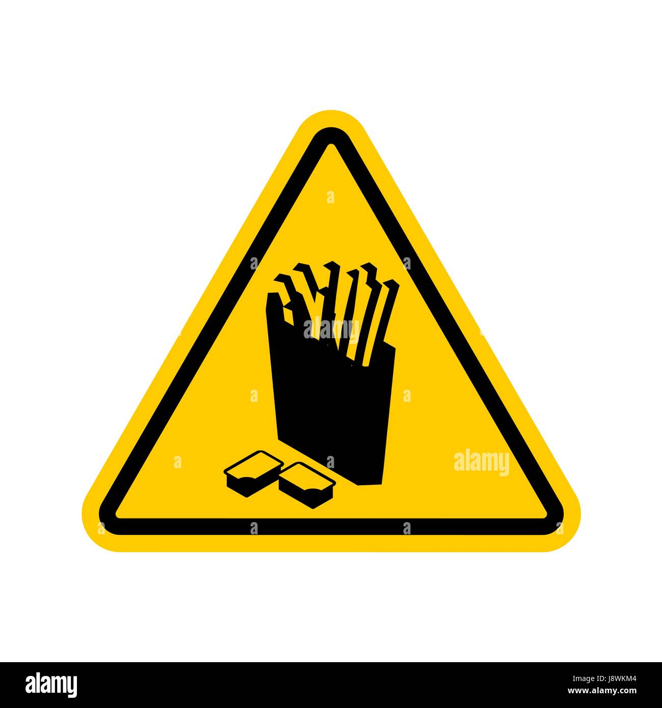 Attention French fries. Dangers of yellow road sign. Fast food Caution - Stock Vector