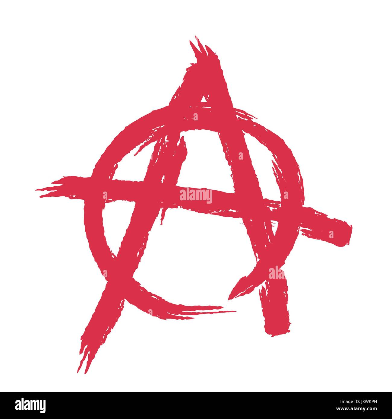 Anarchy sign isolated. Brush strokes grunge style - Stock Vector