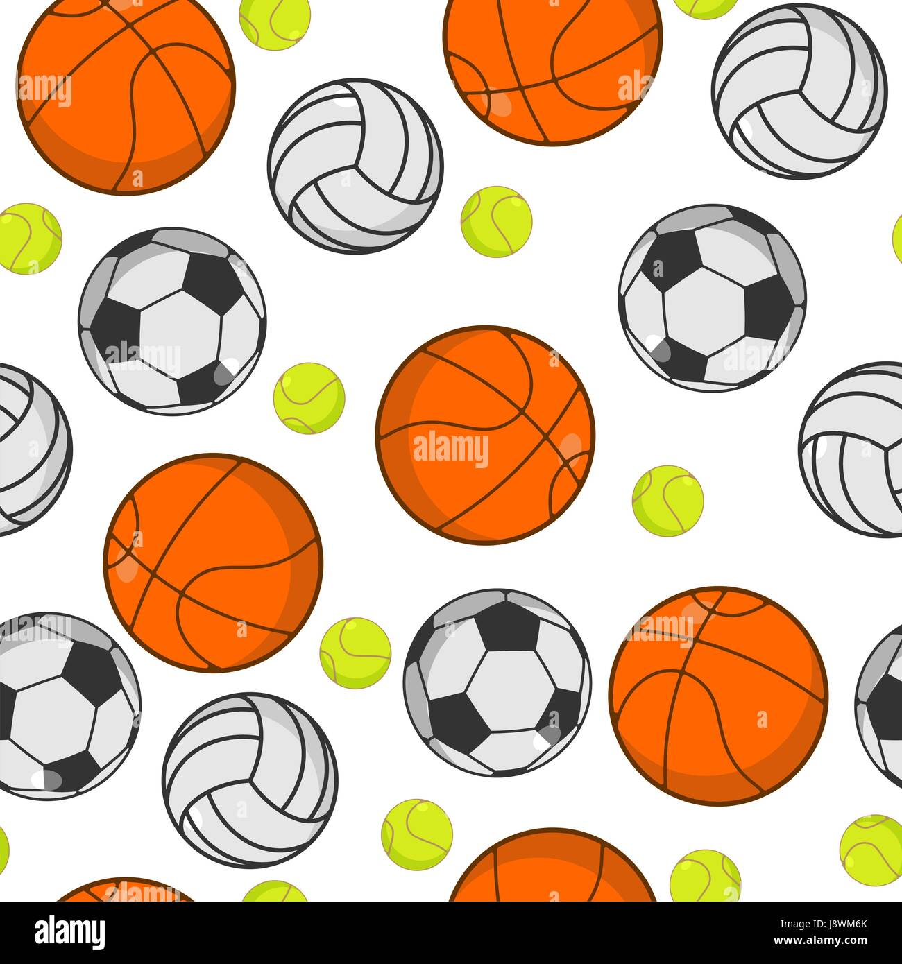 Sports Ball Seamless Pattern Balls Ornament Basketball And Football Tennis Volleyball Sport Background Sporting Texture