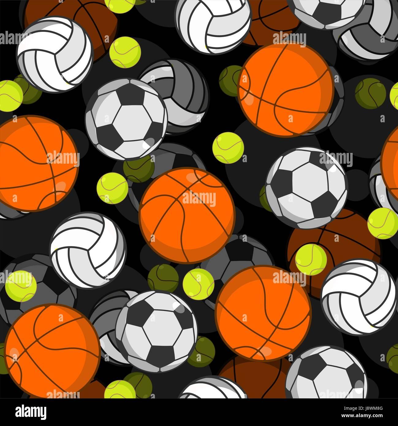 Sports ball 3d seamless pattern. Balls decoration. Basketball and
