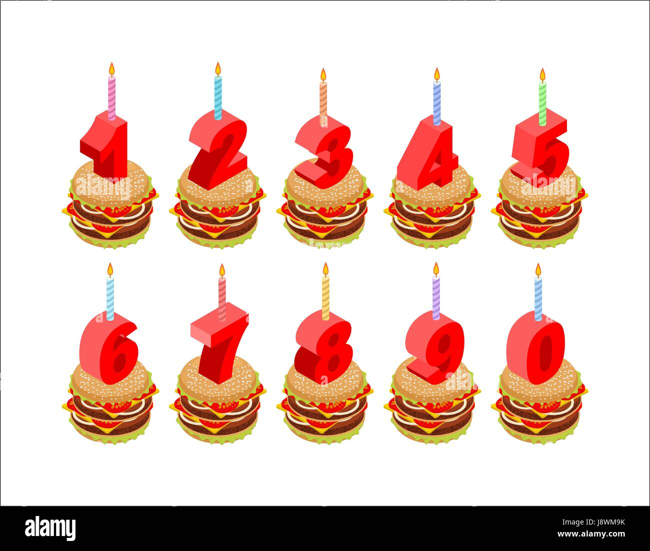 Burger And Birthday Candles Numbers Set Holiday Isometrics Fast Food For Cartoon Style Of Rooms