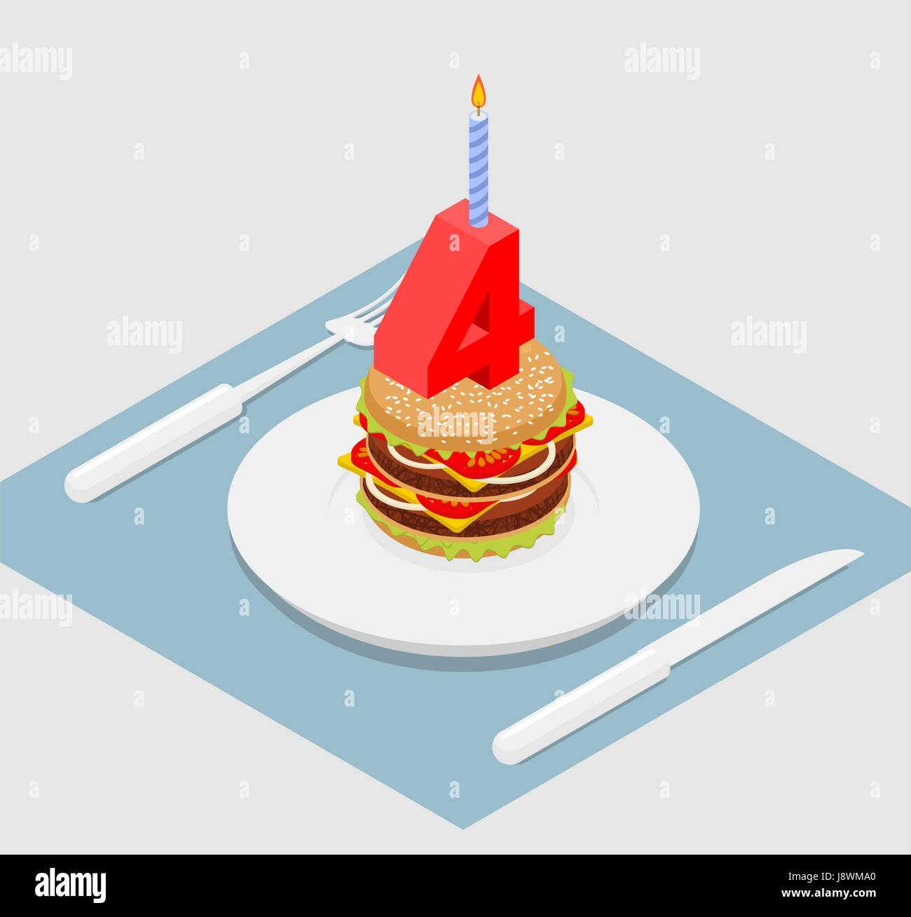4 years birthday burger. Number four with candle. Burger anniversary celebration. Festive fast food. Happy holiday Stock Vector