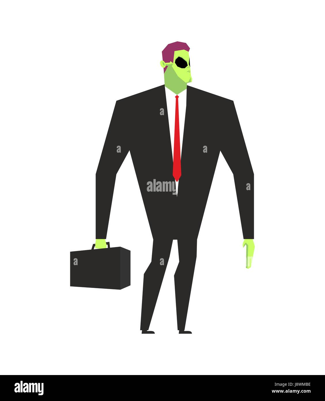 Alien businessman. UFO boss. Martian in business suit. Alien and case. Space Ambassador with suitcase. Green alien - Stock Image