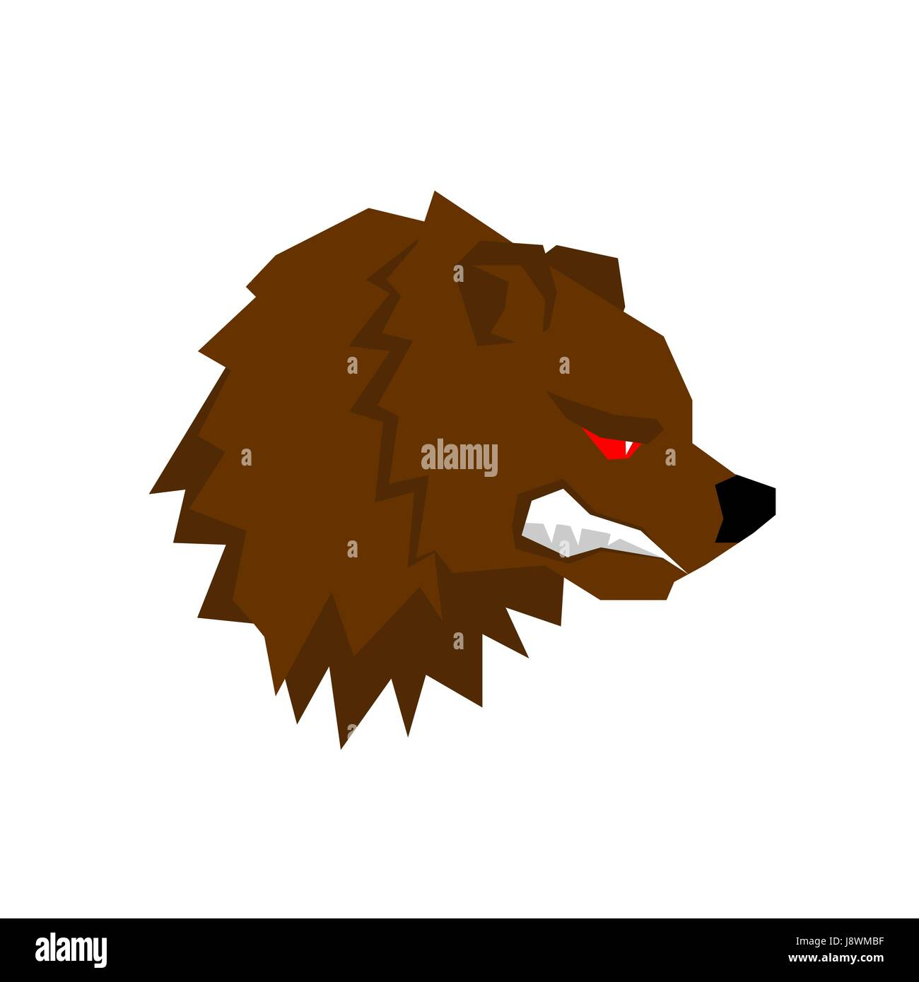 Angry bear. aggressive Grizzlies with grin. Wild beast growls. Scary ferocious animals of  forest - Stock Image
