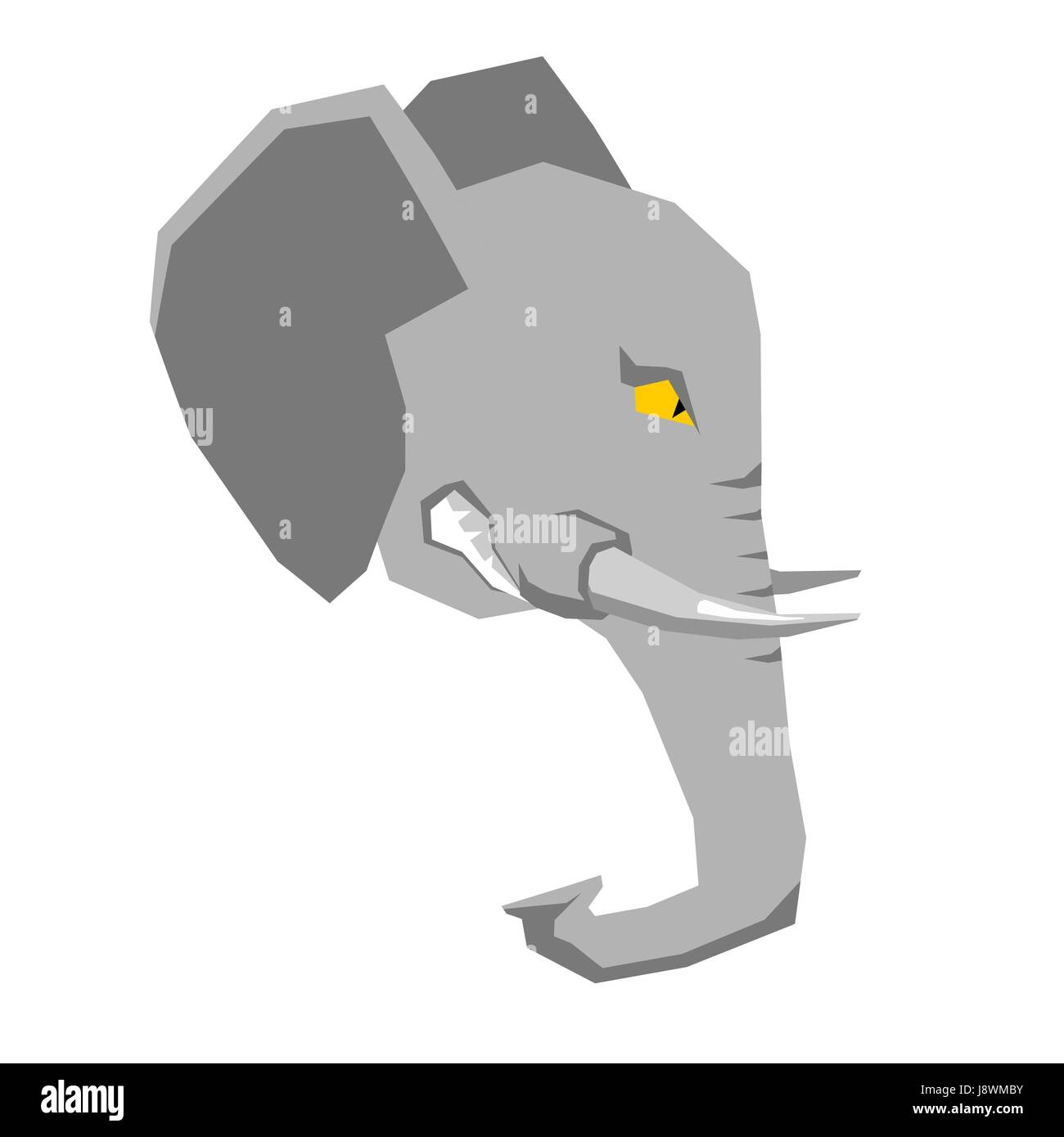 Angry elephant. head of  big aggressive animal with grin. Wild beast growls. Scary ferocious predator with tusks - Stock Image