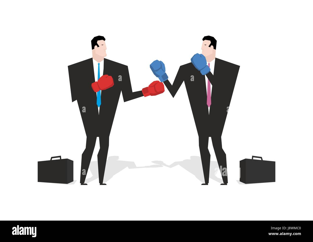 Boxing businessman. Managers are boxing. Office people fight. combat Businessmen in business suit and boxing gloves. - Stock Vector