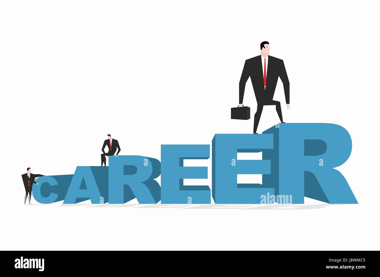 Career ladder. Career motivation. Achieve improve on job. Businessman goes to spell. Winner in work. successful - Stock Vector