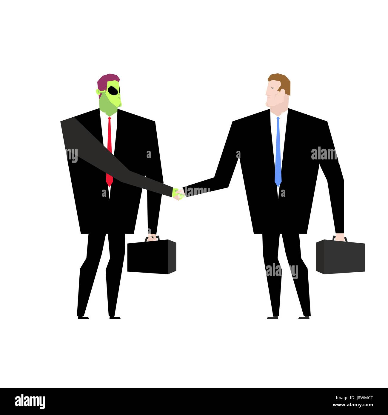 Deal with UFO. Businessman and alien conclude case. Martian and man shake hands. Handshake humanoids. Agreement - Stock Image