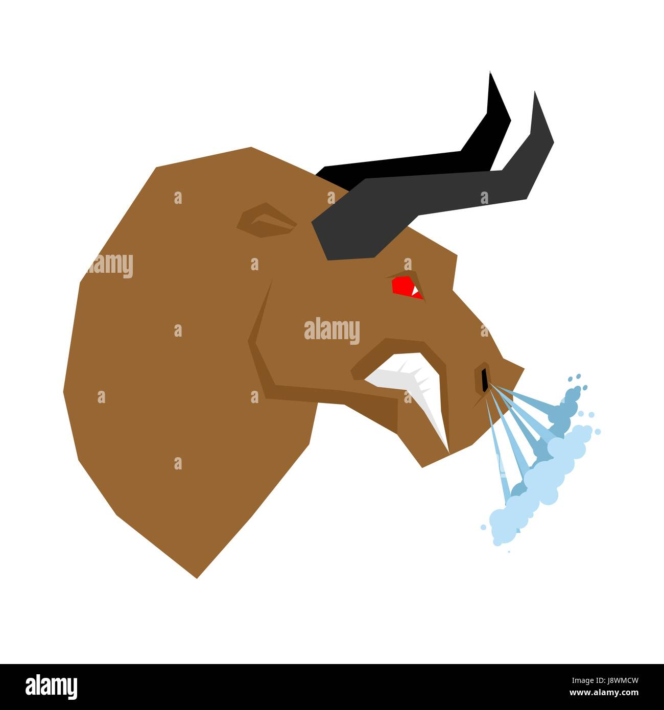 Angry bull. Head of an aggressive beast with big grin. Farm animal beast growls. Scary fierce buffalo with horns - Stock Image