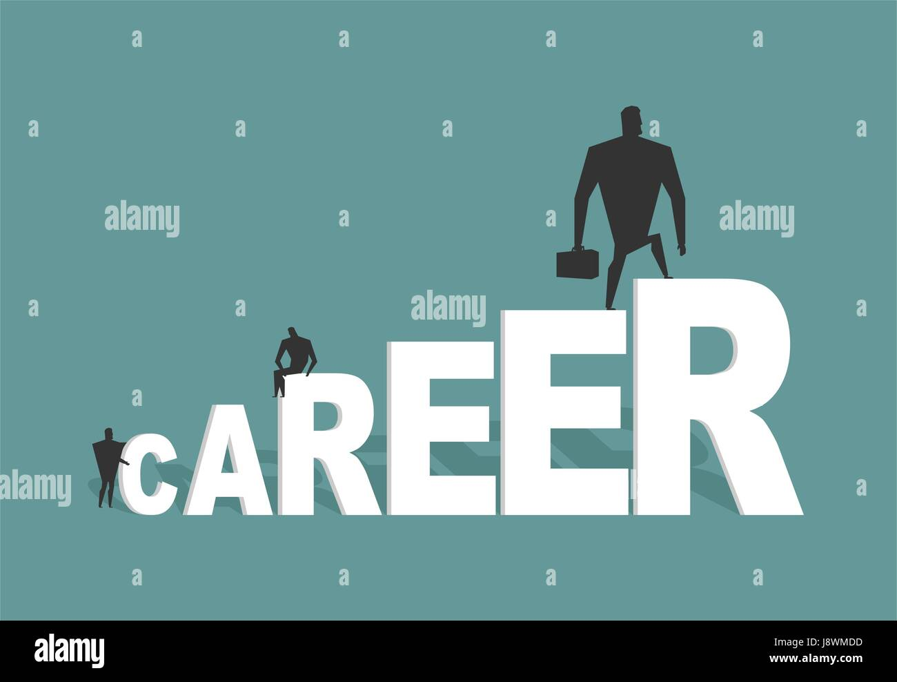 Career. Achieve improve on job. Businessman goes to spell. Winner in work. successful promotion in official, social, - Stock Vector