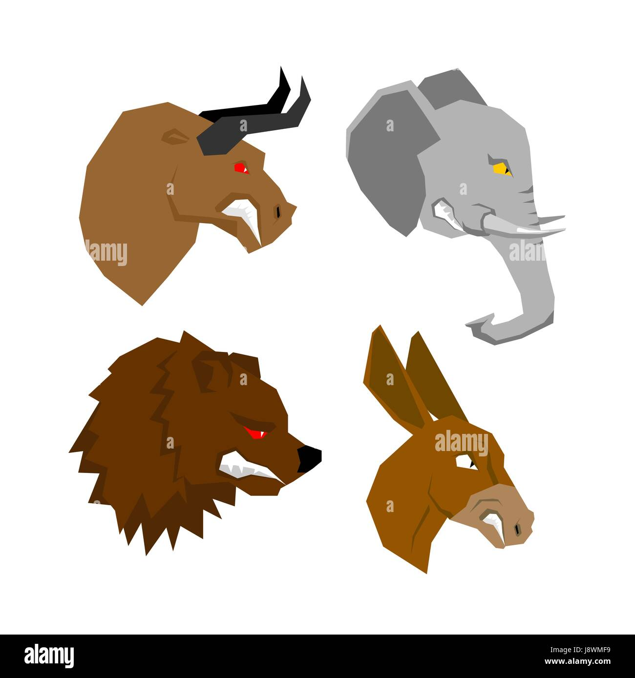 Angry animal set. Aggressive bull with red eyes. Scary elephant with tusks. Horrible bear with grin. Ferocious donkey - Stock Image