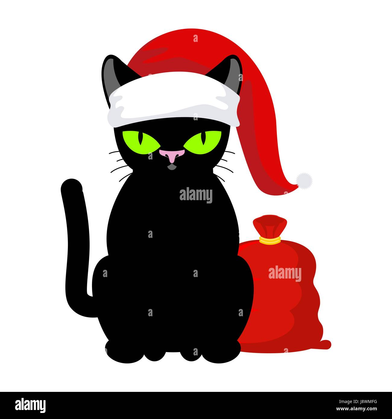 Santa Claus Cat Pet In Christmas Hat Red Bag With Gifts New Year