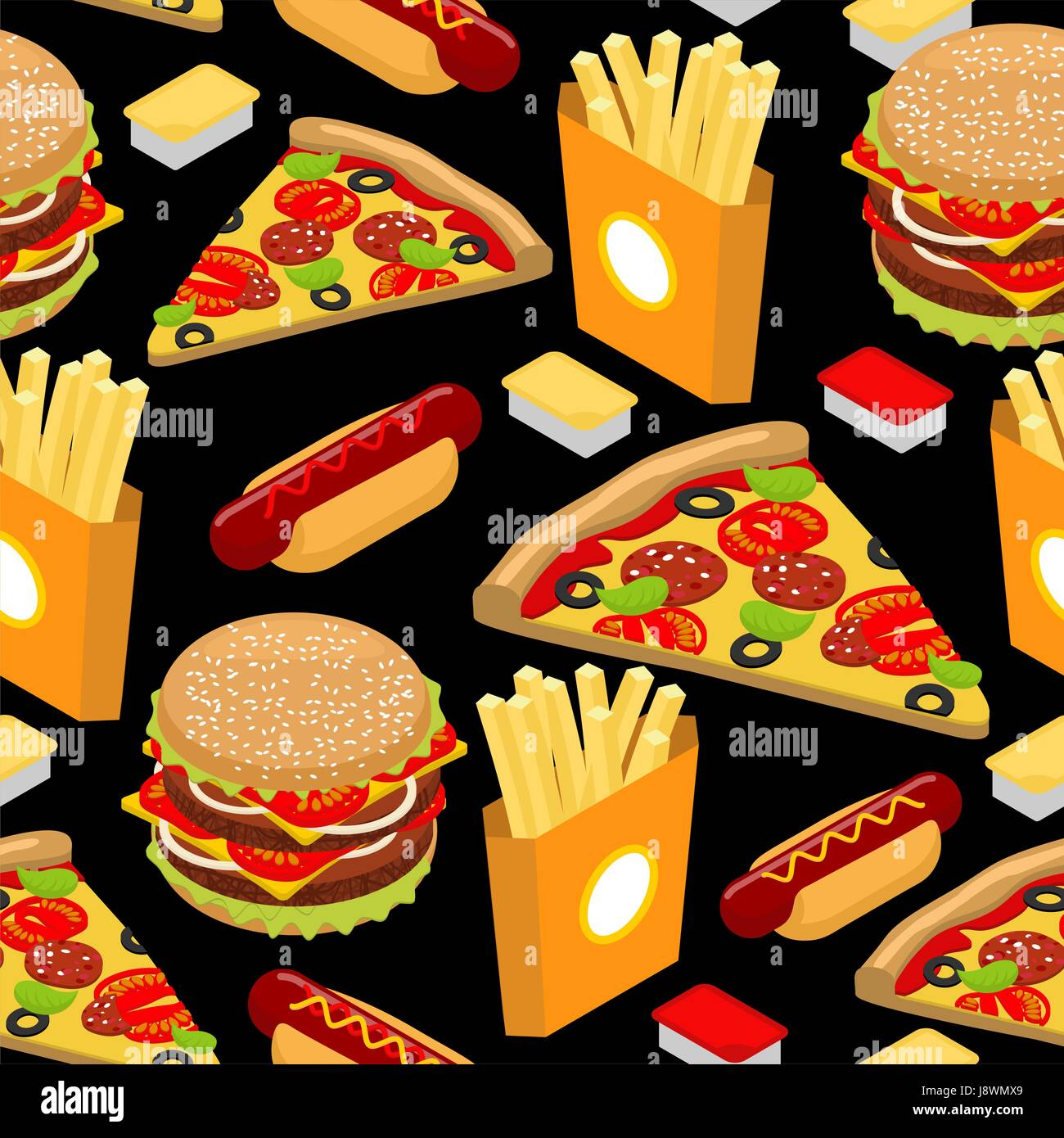 Fast Food Pattern Hamburger And French Fries On Black Background Stock Vector Image Art Alamy