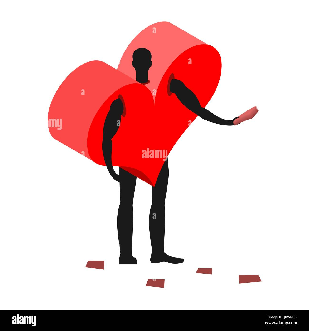 Love costume man mascot promoter. Male in suit heart distributes flyers. Puppets core engaged in advertising goods - Stock Vector