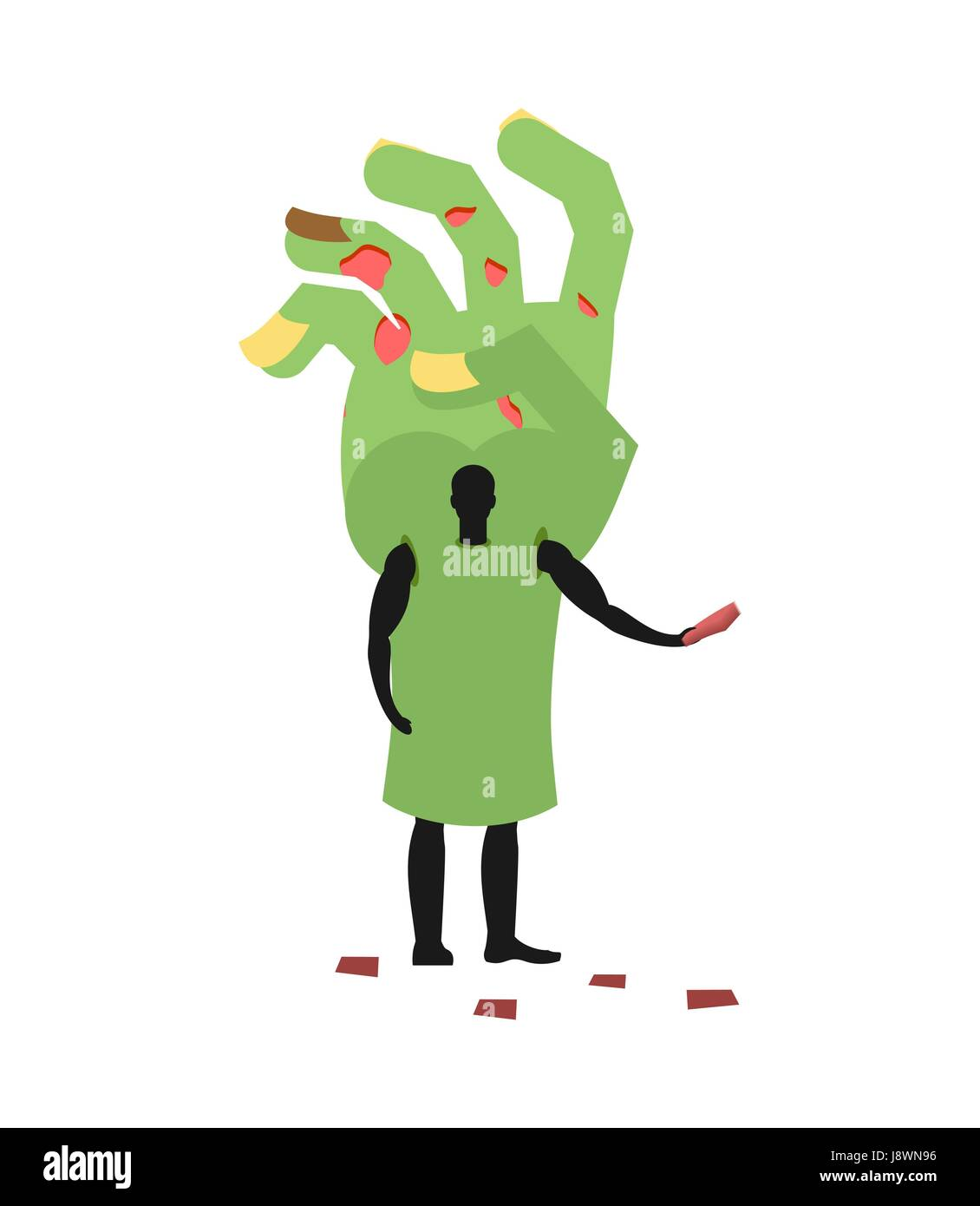 Zombie Hand costume man mascot promoter. Male in suit green arm distributes flyers. Puppets monster engaged in advertising - Stock Vector