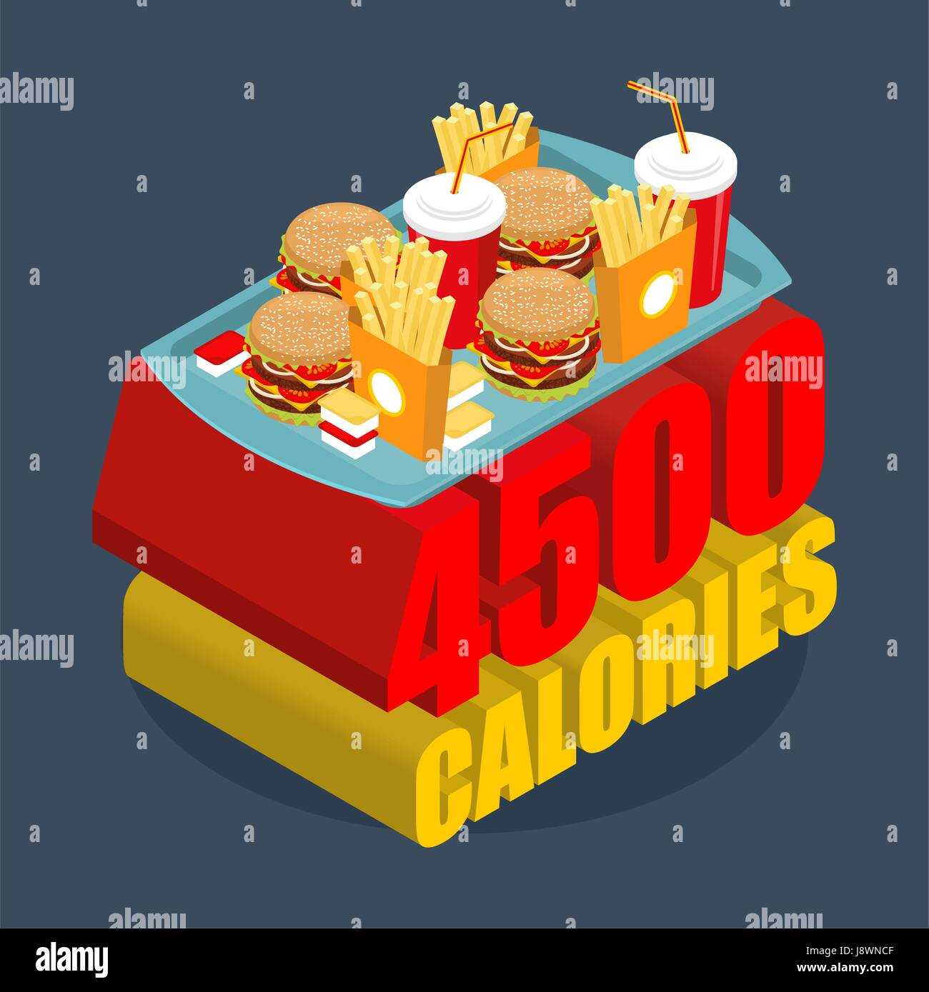 Fast food calorie range. Many of junk food. Hamburgers and french frying. Cheese sauce and ketchup. Most Energetic - Stock Vector