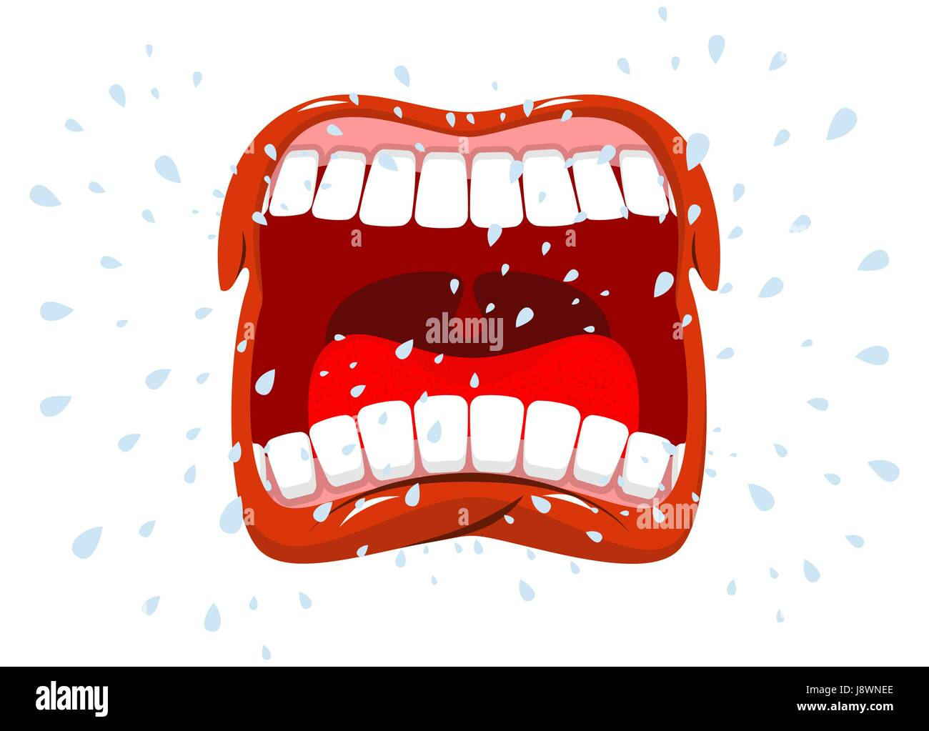 Yells. Man shouts. Violent emotion. Open your mouth and tongue. Flying saliva. Shout. Shrill scream. Swearing and - Stock Vector