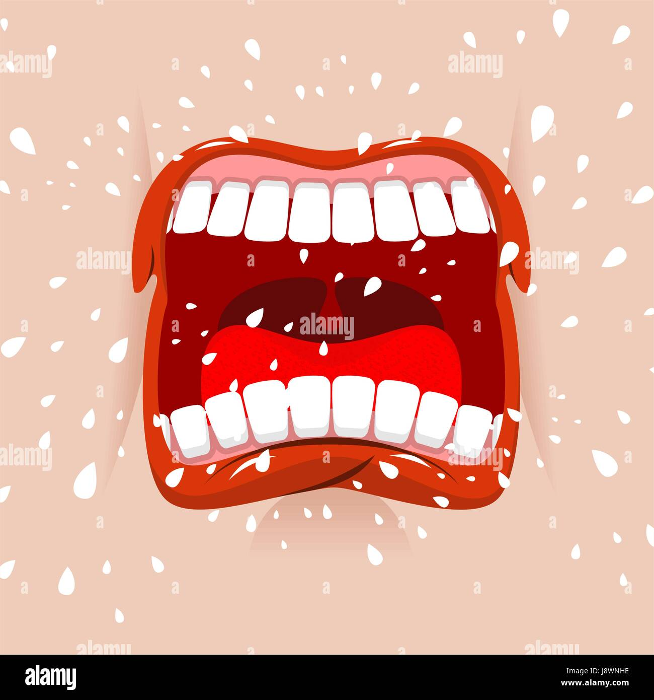 Shout aggressive face. Man Yells. Violent emotion. Open your mouth and tongue. Flying saliva. Shout. Shrill scream. - Stock Vector
