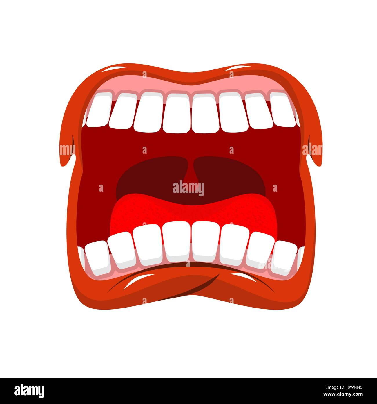 Scream. Man shouts. Violent emotion. Open your mouth and tongue. Flying saliva. Shout. Shrill scream. Swearing and - Stock Vector