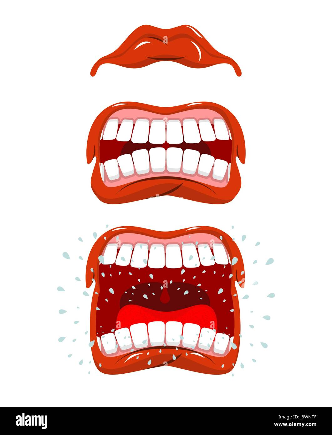 Angry lips emotions. Aggressive with mouth. Cheering and cussing. Red lip and white teeth. belligerent cry fly saliva - Stock Image