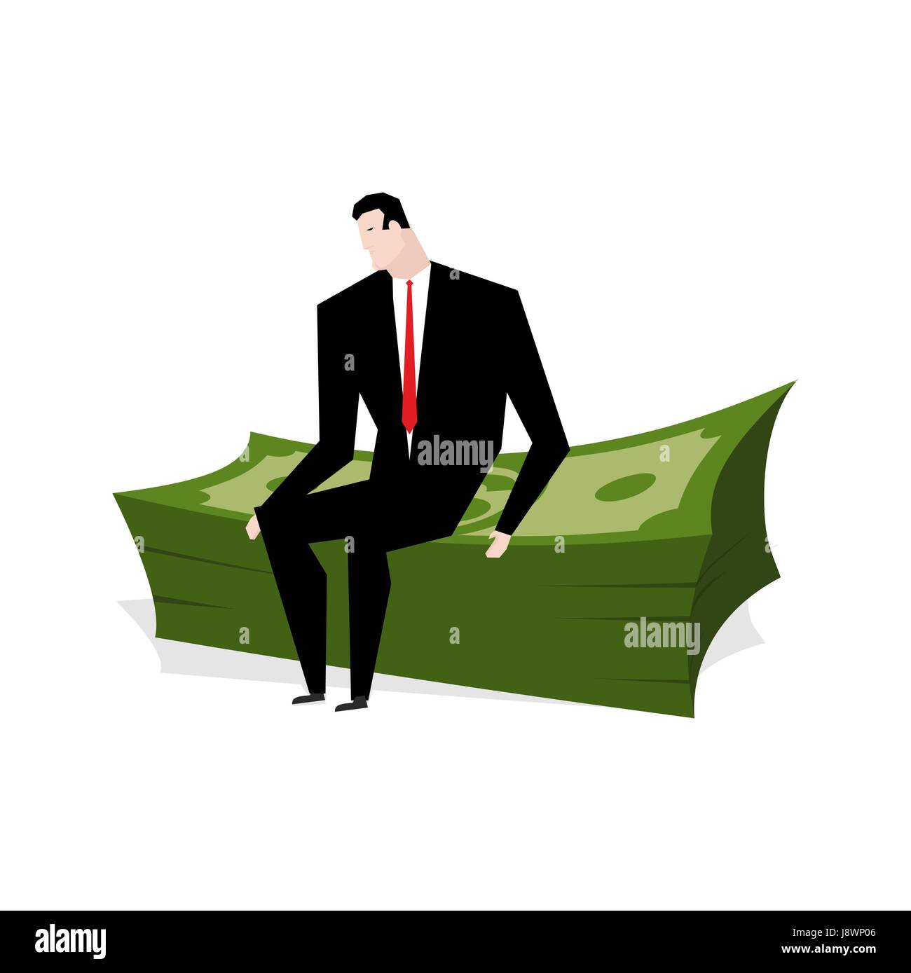 Businessman sitting on stack of dollars. Businessman and profit. Man is sitting on big wad of cash. Boss and lot - Stock Image