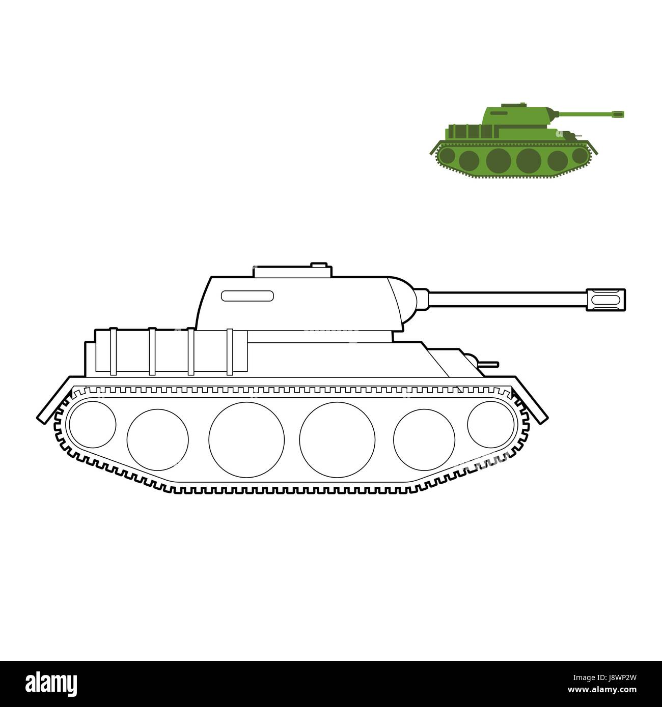 Military Tank coloring book. Fighting technique in linear ...
