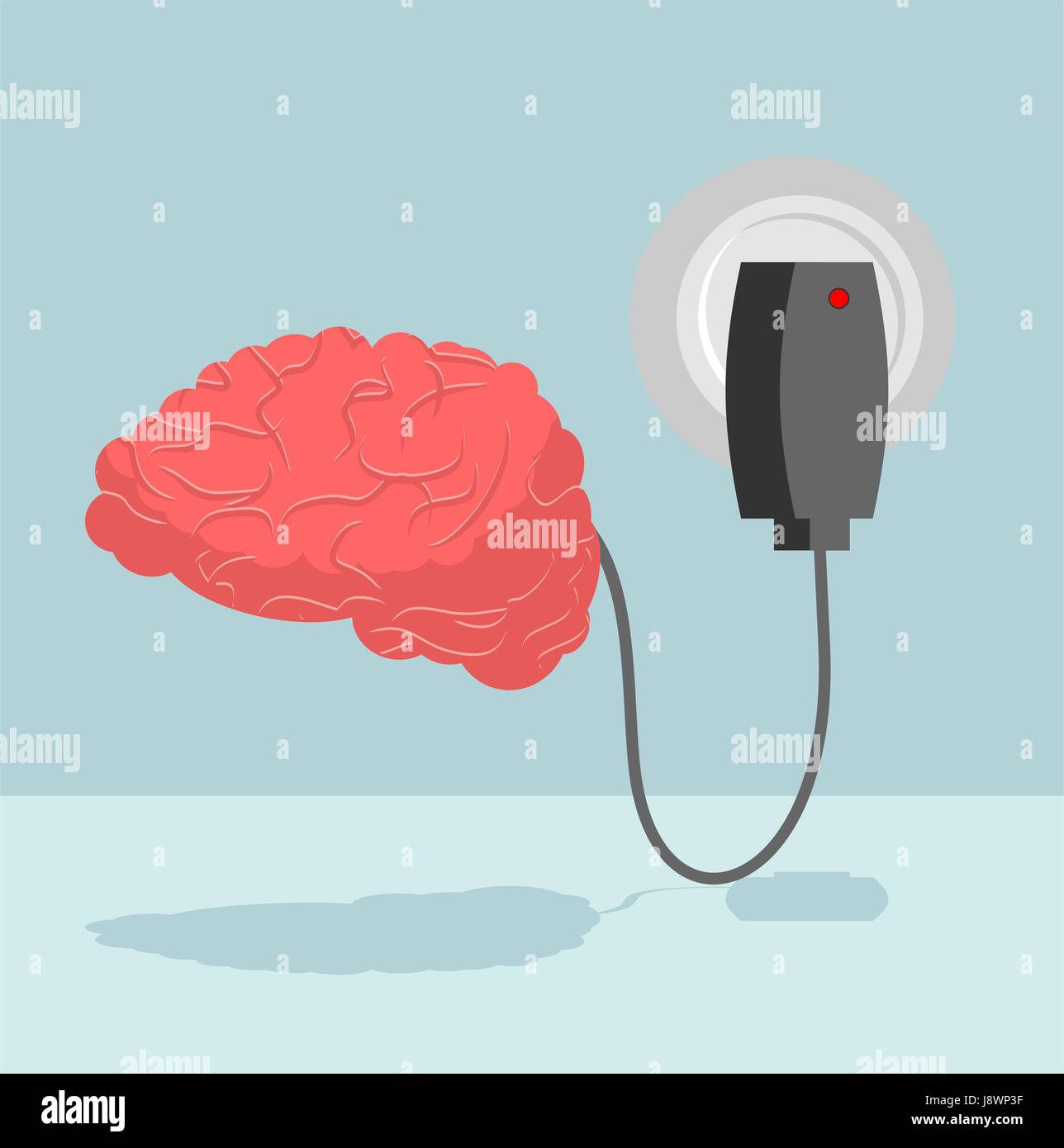 Charge brain. Charger for cerebrum. marrow is charged with new ideas and thoughts. Energizes battery Central Authority - Stock Image