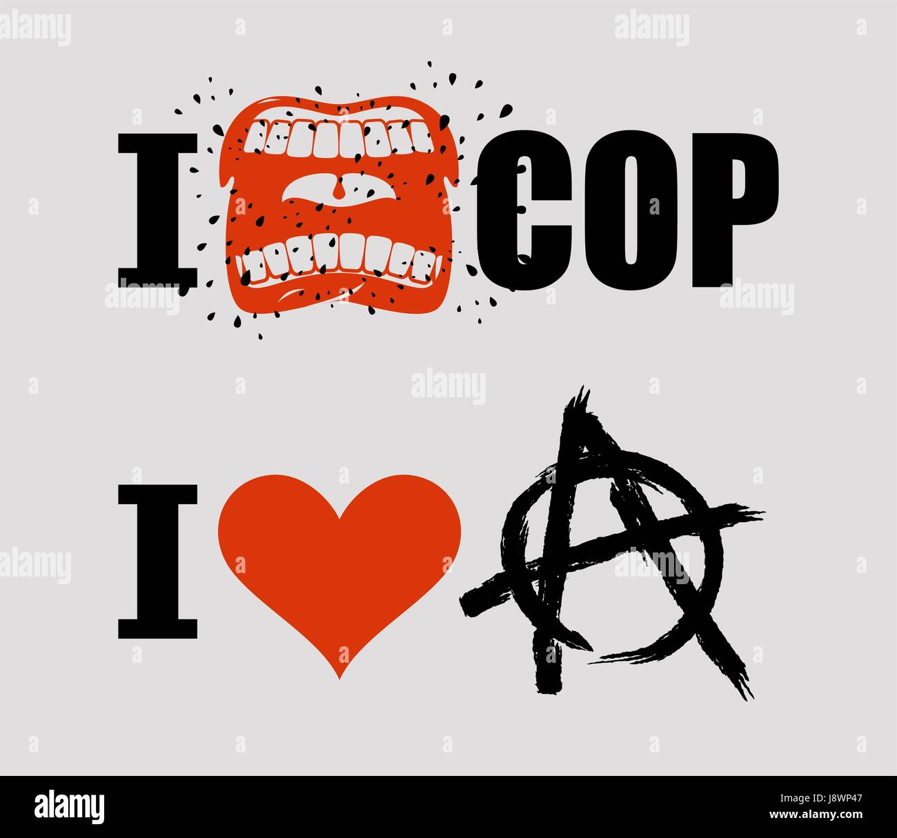 I Hate Cop I Love Anarchy Loud Cry Of Sign Of Aggression And