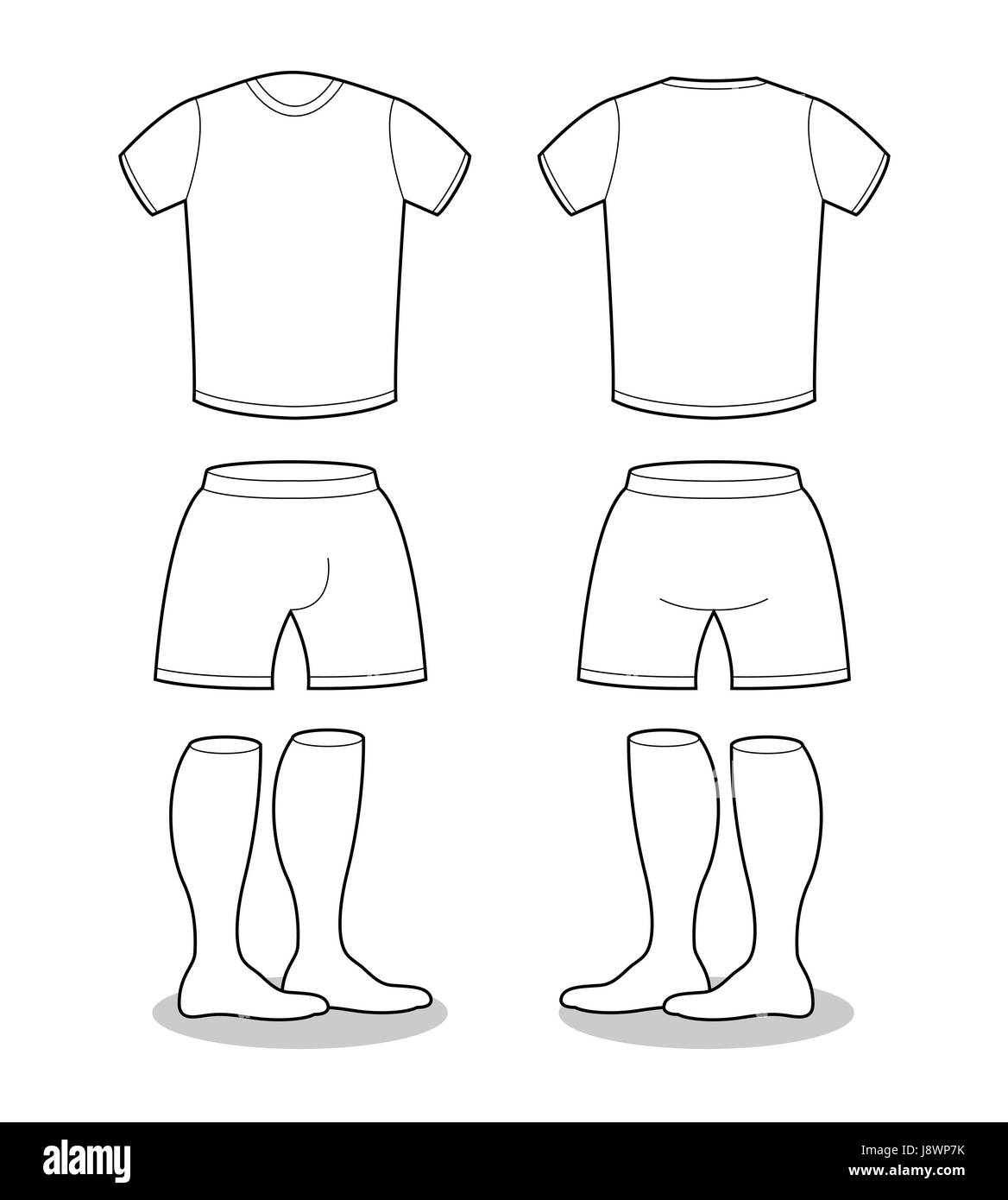 Sample For Sports Clothing Soccer T Shirt Shorts And Socks Template Design Football Shape Blank Curve
