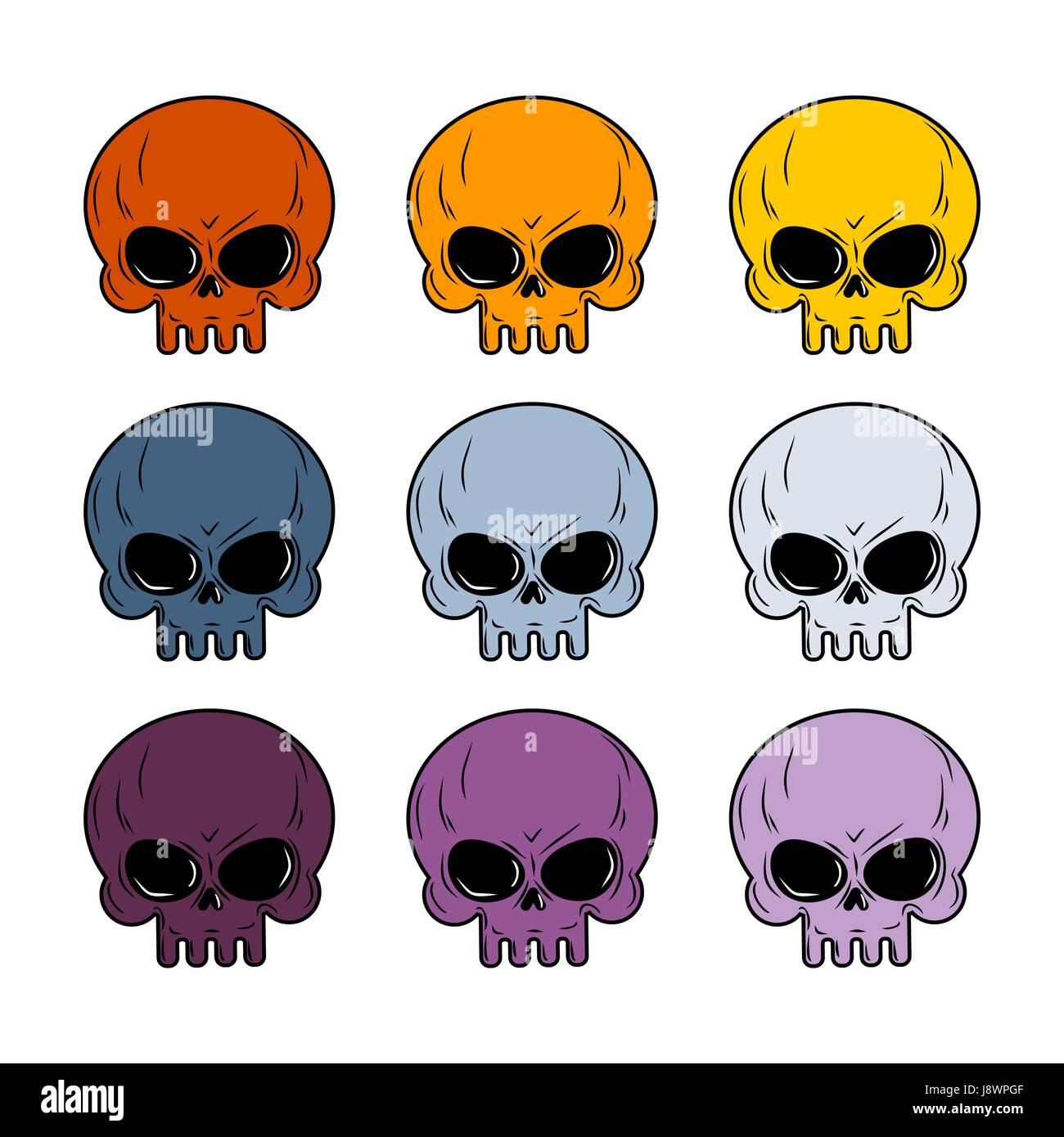 Skull set. Colored skull. Set of multi-colored head skeleton. - Stock Image