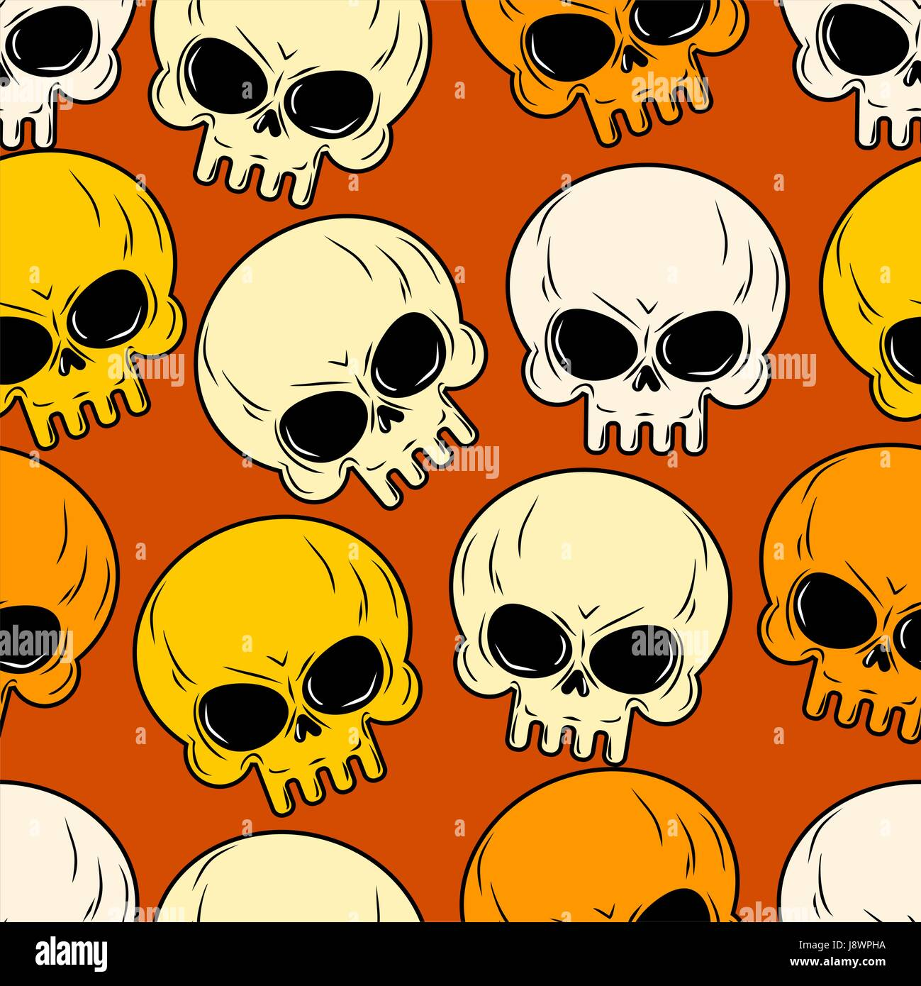 Skull seamless pattern. Texture of head skeleton. Background for Halloween. Cute skull in gentle tones. - Stock Image