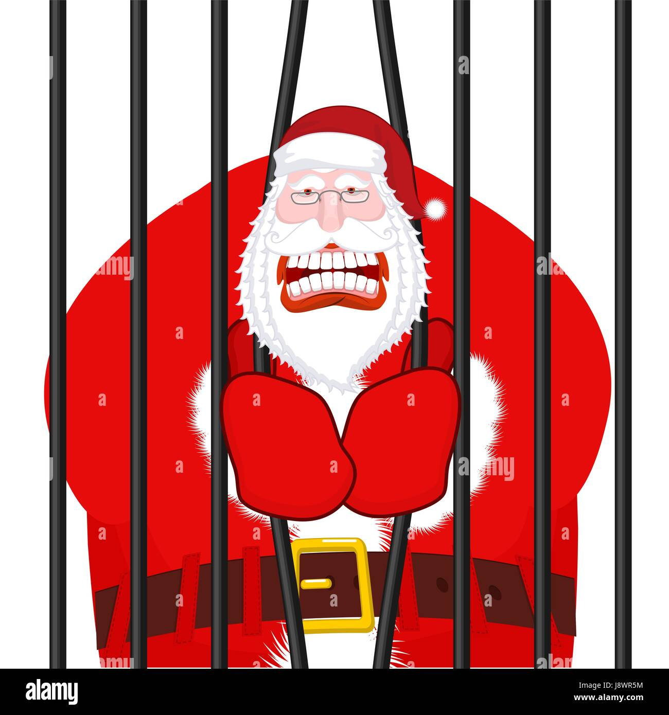Christmas In Prison.Santa Claus Gangster Christmas In Prison Window In Prison