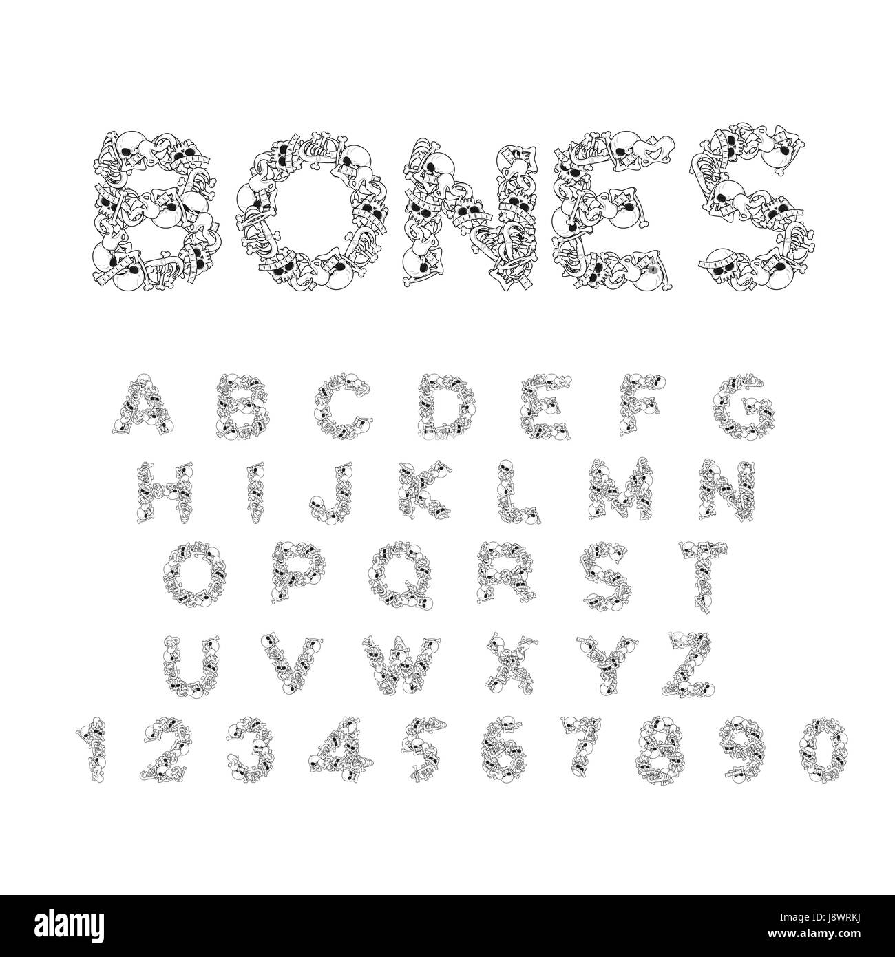 Letters Anatomy Skeleton Font Skull And Spine Jaw Pelvis Hell Scary ABC