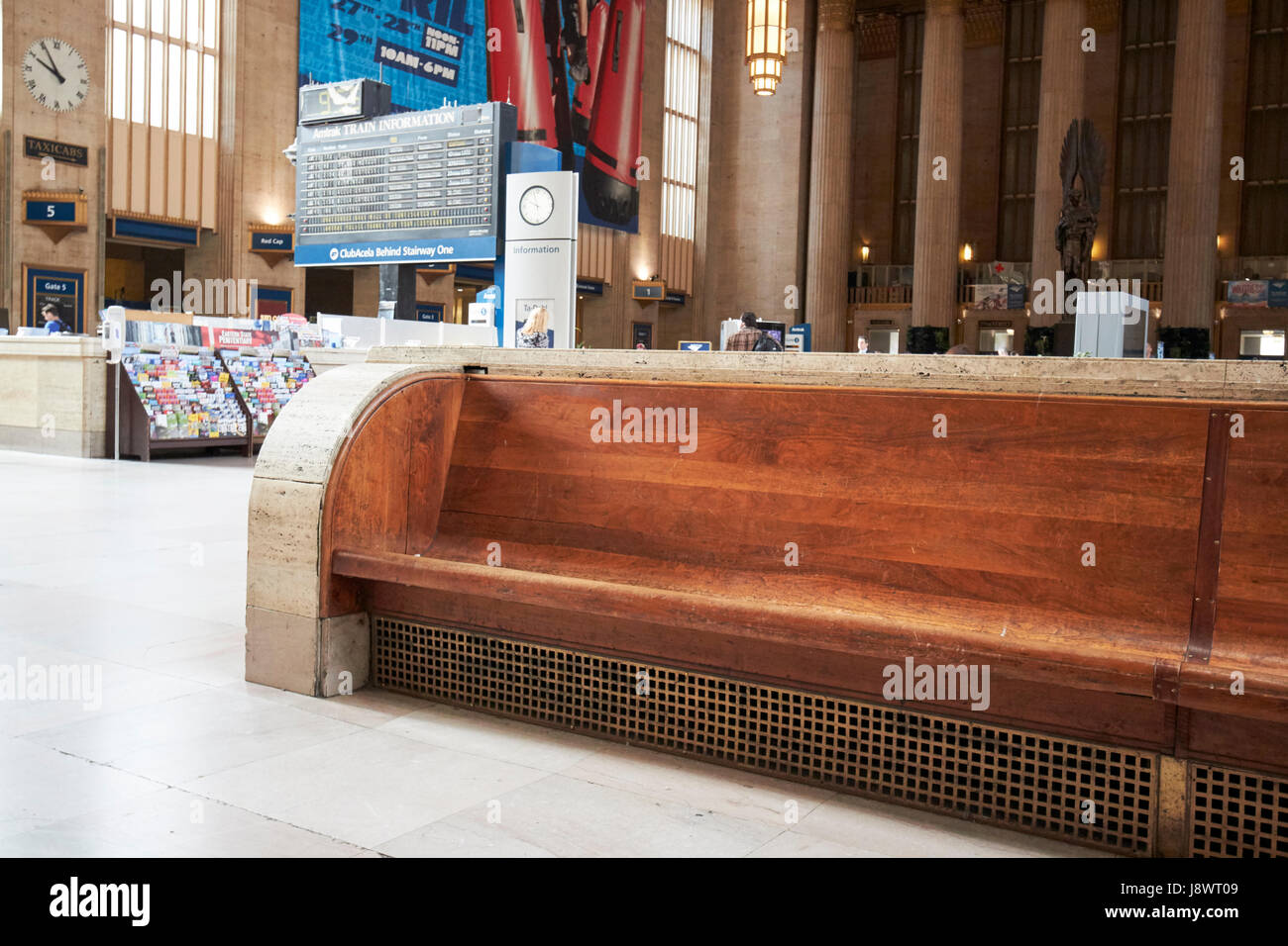 Long Wooden Benches In Main Waiting Room Inside Septa 30th Street