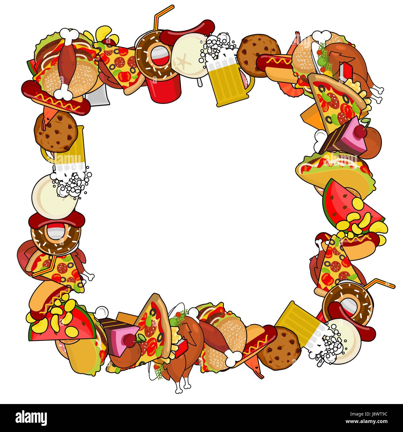 Fast Food Frame Background Of Feed Edible Cadre Pizza And Tacos